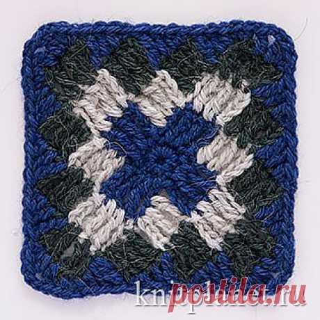 Планета Вязания | Квадратный мотив крючком № 5. Схема вязания узора крючком. Этот квадрат хорош тем, что его можно связать любого размера. Кроме того, можно использовать даже небольшие остатки пряжи.