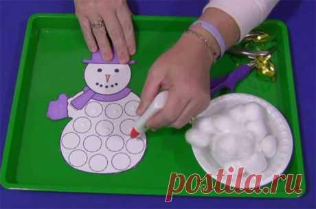 Зимние поделки своими руками: снеговик из ваты