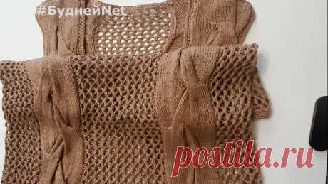 КРАСИВАЯ летняя АЖУРНАЯ кофта с КОСАМИ! Вязание спицами. Стильно, модно и очень просто!