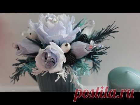 Как сделать Новогодний букет из конфет в кружке / Подарок своими руками / DIY Crepe paper bouquet - YouTube