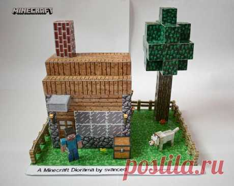 Minecraft Diorama by svanced 1 +DOWNLOAD This is my idea/view of a Minecraft Diorama. All parts(including the house template)were downloaded from pixelpapercraft.The house was scaled up and the rest of the parts too to fit with the house....