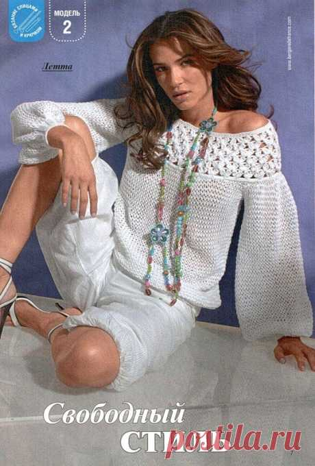 Пуловер с кружевной кокеткой (спицы+крючок)