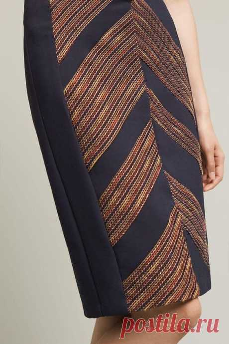 The Western Pencil Skirt upgrades the classic wardrobe staple with a multicolor chevron embroidery detail over navy blue. Made in the USA. Women Fashion, Holiday fashion, Women's fashion, fall…