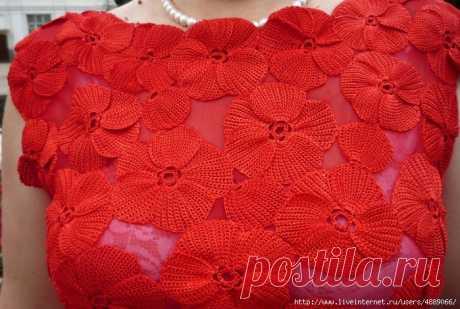 """Красивые цветы в технике """"тунисского вязания"""" от NataD"""
