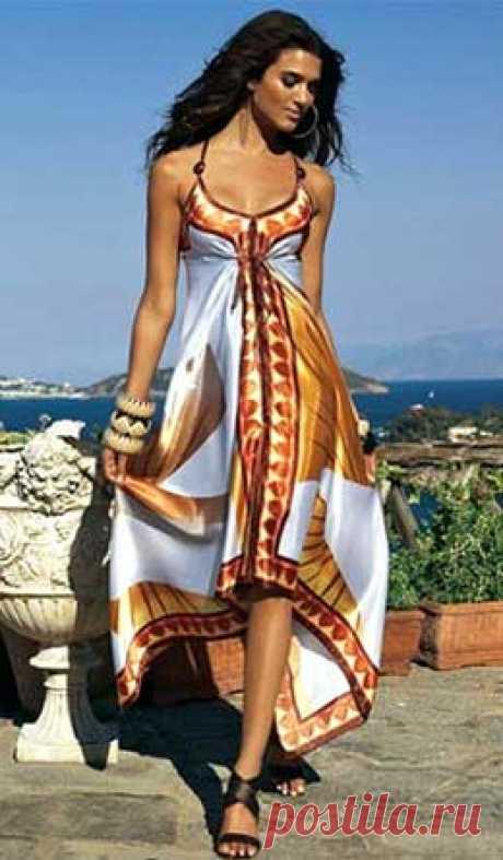 ¡El patrón del sarafán de los pañuelos de Anastasia Korfiati Este vestido brillante se ve es muy impresionante, y el secreto del patrón del sarafán de los pañuelos en lo que él no es necesario los patrones y es cosido él de todo en una hora!