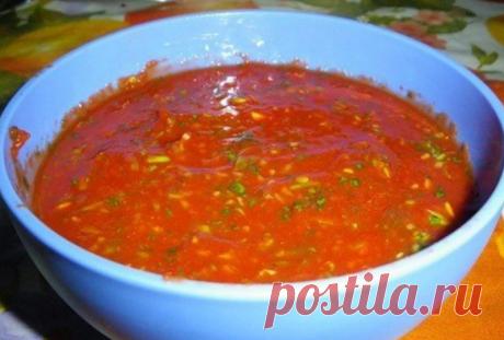 Мой Любимый соус к шашлыку  =Этот соус для любителей кинзы, так как многие её не едят. Итак, нам нужно:  =томатное пюре, хмели-сунели, большой пучок кинзы, пучок зеленого лука, чеснок, соль, перец…