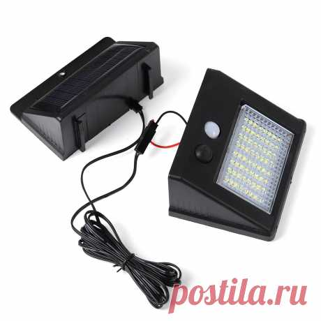64/48/32 waterproof led solar panel power sensor wall light outdoor walkway lamp with 2.5m cable Sale - Banggood.com