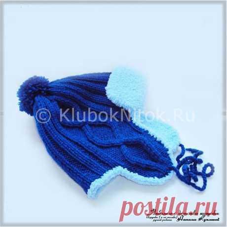 Вязаная спицами зимняя шапка-ушанка от автора Натальи Кузьминой.