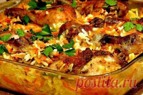 Курица с рисом в духовке / Простые рецепты