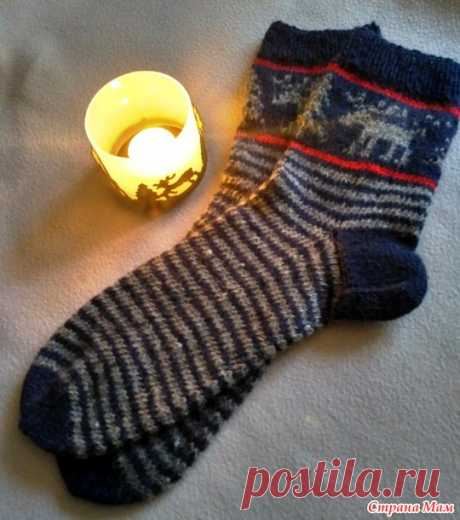 Новогодние носочки для мужа - Вязание - Страна Мам