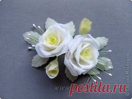 Мастер-класс цветы из ткани. Белая роза без специальных инструментов.