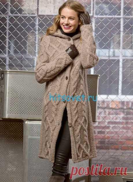 Узорчатое вязаное пальто с капюшоном - Хитсовет