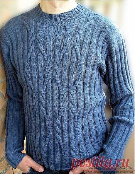 Вяжем спицами мужской свитер. Вязание обычного повседневного свитера для мужчины. Отличная тренировка для начинающих вязальщиц