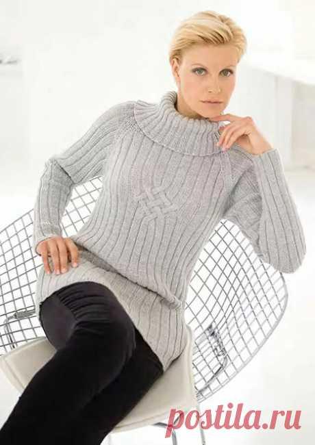 Элегантный удлиненный свитер реглан в резинку с красивым воротником спицами – схема вязания с описанием