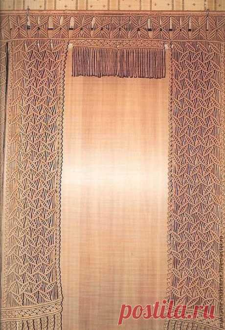 Купить Занавес (шторы) мараме - бежевый, штора, шторы, занавес, Макраме, на дверь, дверной проем