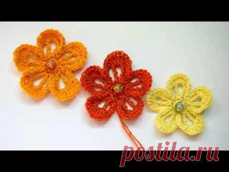 Простой цветок крючком. Вязание для начинающих Легоко и быстро Урок 225 Simple flower crochet.