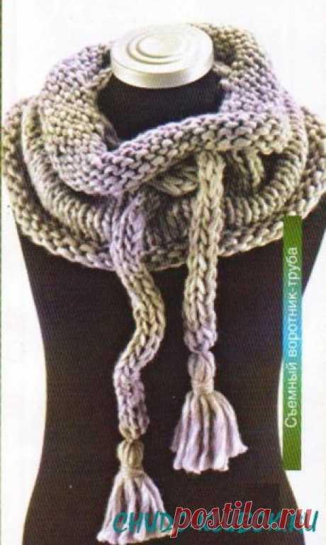 Съемный воротник-труба спицами  