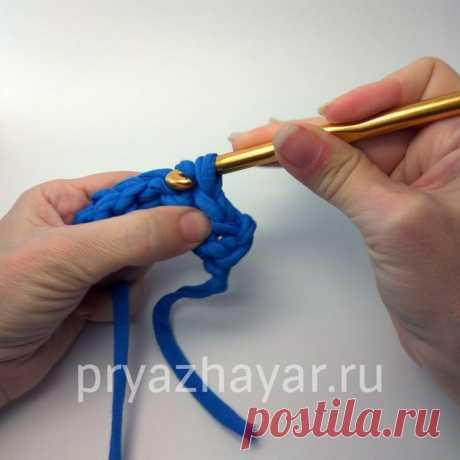 Учимся вязать из трикотажной пряжи