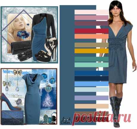 СЕРО-СИНИЙ цвет (правильное сочетание цветов в одежде)  Серо-синий цвет сочетается с бело-розовым, лиловым, темно-лиловым, цветом красной розы, персиковым, песочным, цветом охры, изумрудным, лазурно-зеленым, синим, кобальтовым, электрически-голубым, бело-голубым, глициновым, бежево-персиковым, серо-коричневым и темно коричневым.
