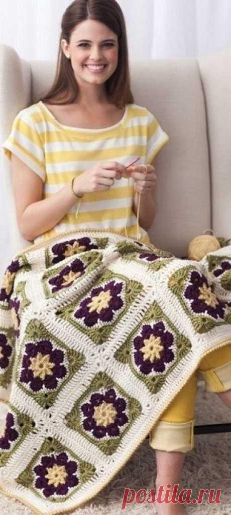 Plaid from square motives \/ Knittings \/ Handlife.ru - creative life!