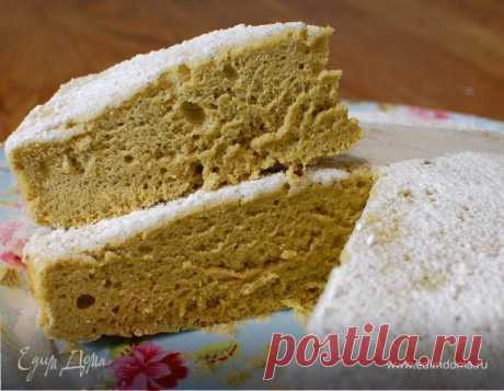 Бисквит на зеленом чае , рецепт с ингредиентами: мука, яйца куриные, сахарная пудра