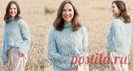 Нежнейший, ажурный, женский свитер спицами. Схемы и описание. | Вязаный Смак | Яндекс Дзен