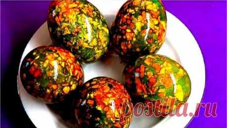 Как покрасить яйца на Пасху Мраморные яйца Это очень просто