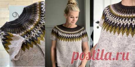 Пуловер с круглой жаккардовой кокеткой Esther - Вяжи.ру