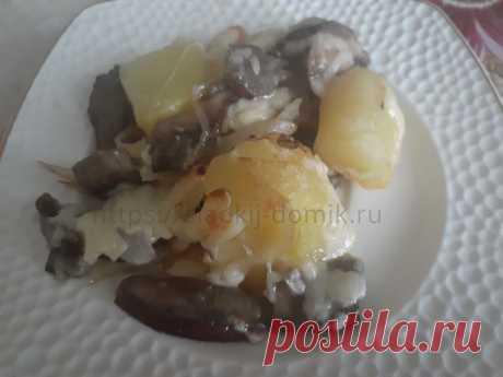 Картошка с грибами в духовке. Запеченная под сыром