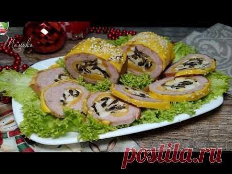 Рулет праздничный: невероятно вкусный, идеально тонкая нарезка и очень красивый