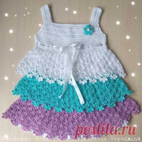 Сарафан и косынка крючком для девочки до года   Детская одежда крючком. Схемы