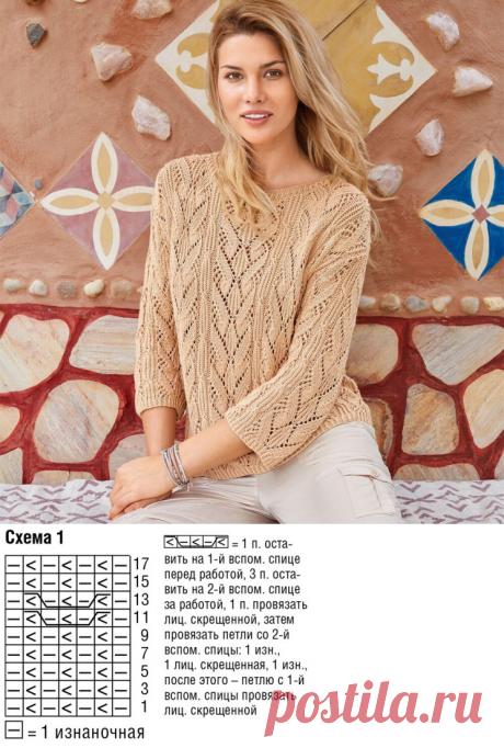 Узорчатый джемпер спицами цвета пудры (Вязание спицами) – Журнал Вдохновение Рукодельницы