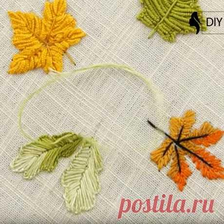 Как вышить осенние листья