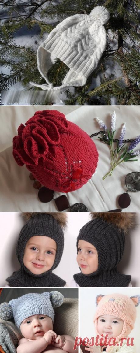 Вязаные детские шапки спицами с ушками, зимние, для новорожденных. Схемы и описание, инструкции вязания