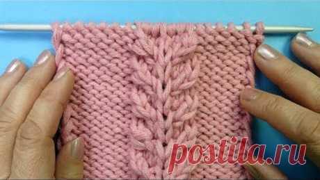 Красивая коса для свитера и топика Узор спицами 65