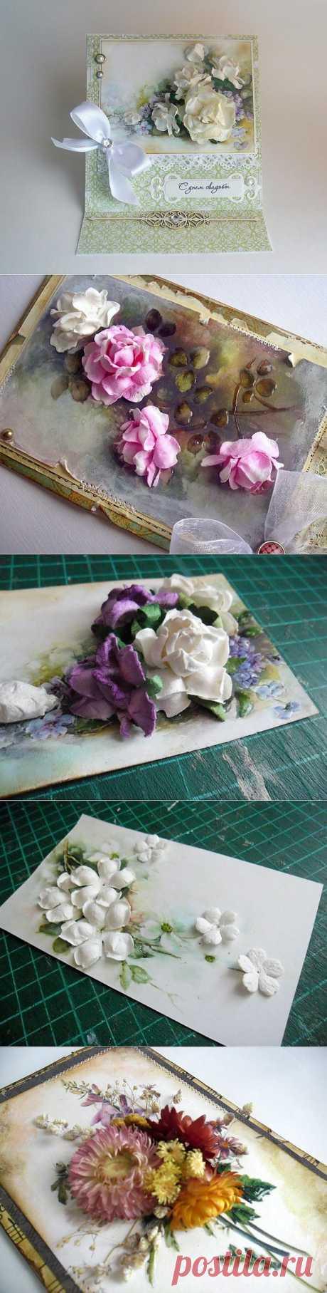 Открытка с объемными цветами