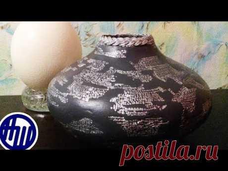 Как сделать вазу любой формы из картона и гипса.