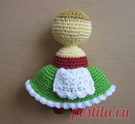 Красная шапочка- вязанная куколка.Мастер класс.