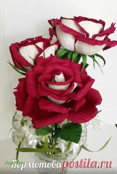 """Роза """"Осирия"""" из гофробумаги"""