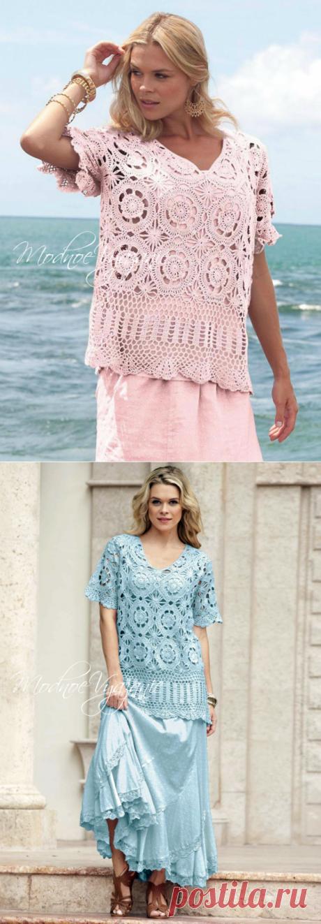 Кофточка и юбка одинаковыми узорами для пышек.