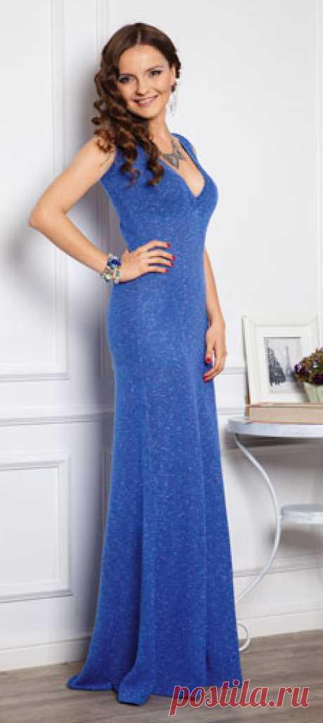 Синее вечернее платье спицами - Портал рукоделия и моды