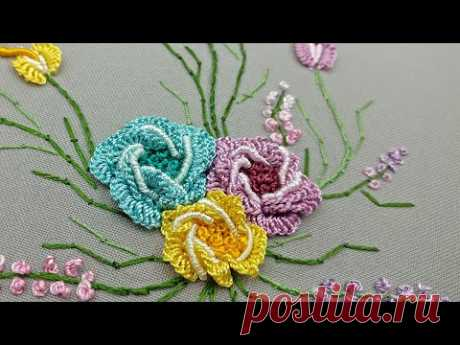 Бразильская Вышивка : Цветочные мотивы| розы| Литой шов и рококо