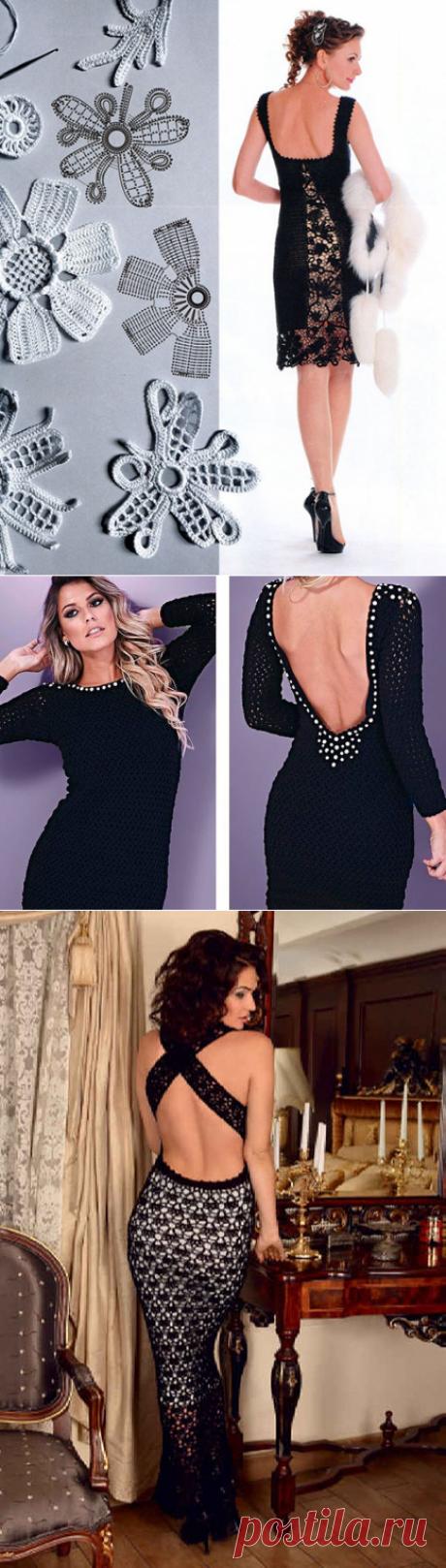 Вяжем вечерние черные платья с открытой спиной крючком – 3 модели со схемами и описанием