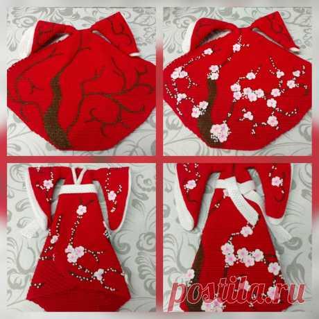 Каркасная кукла в кимоно, связана по описанию Любови Стешовой.