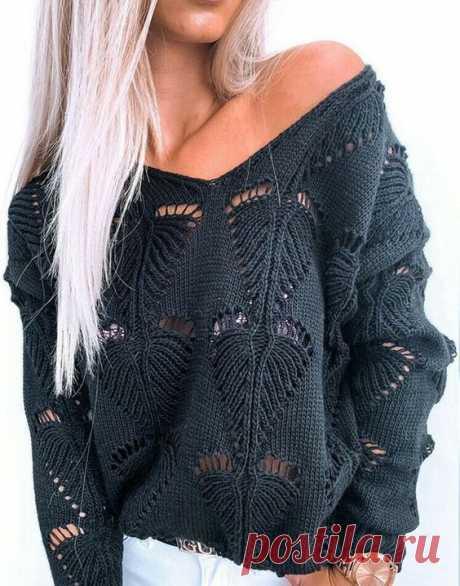 Модный пуловер с V-образным вырезом и узором листья