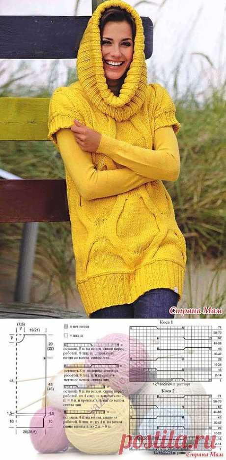 """Длинный пуловер с короткими рукавами и вязаный хомут: Дневник группы """"Вязание спицами"""" - Страна Мам"""