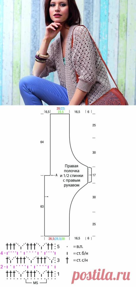 Кардиган с рукавами «летучая мышь» - схема вязания крючком с описанием на Verena.ru