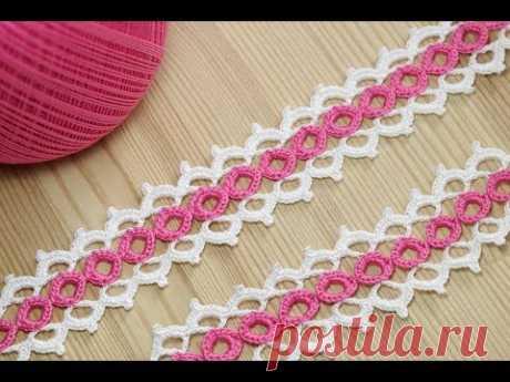 La labor de punto por el gancho del encaje de cinta en base a los anillitos - crochet ribbon lace pattern