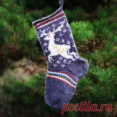Рождественский носочек с оленями спицами » «Хомяк55» - всё о вязании спицами и крючком