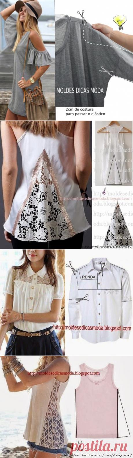 10 стильных и простых идей по переделке блузок и кофт